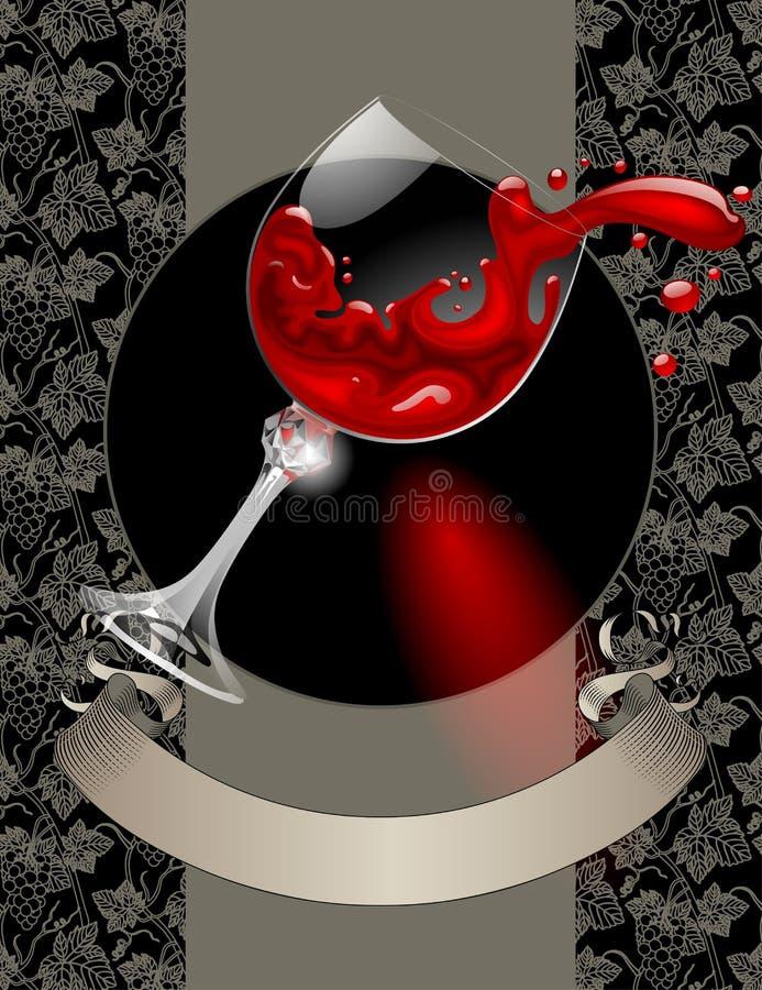 La lista di vino con il bicchiere di vino, rosso ha spruzzato il vino, nastro d'annata e royalty illustrazione gratis