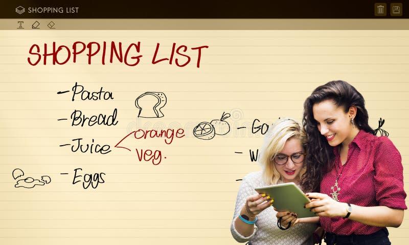 La liste d'achats note le concept réfrigéré d'épiceries photo libre de droits