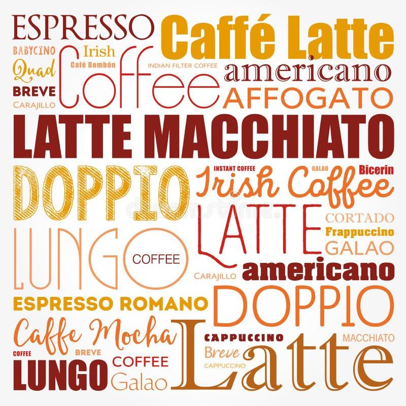 La liste de café boit le nuage de mots illustration stock