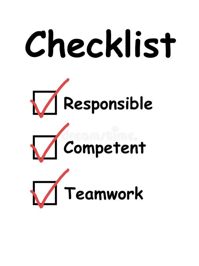 La liste de contrôle avec des checkboxes a fait tic tac illustration stock