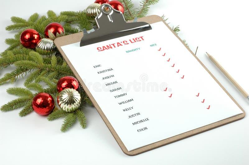 La liste de Santa photo stock