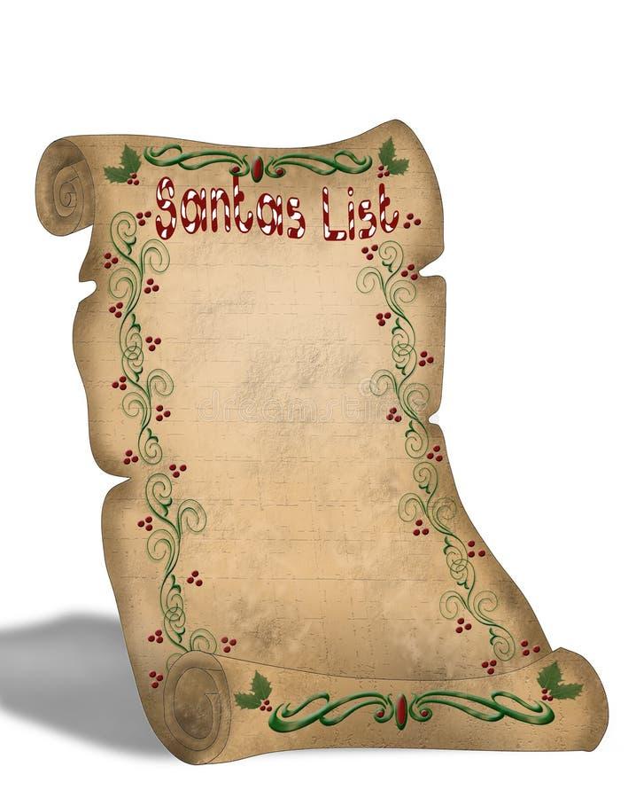 La liste de Santa sur le vieux défilement de parchemin illustration libre de droits