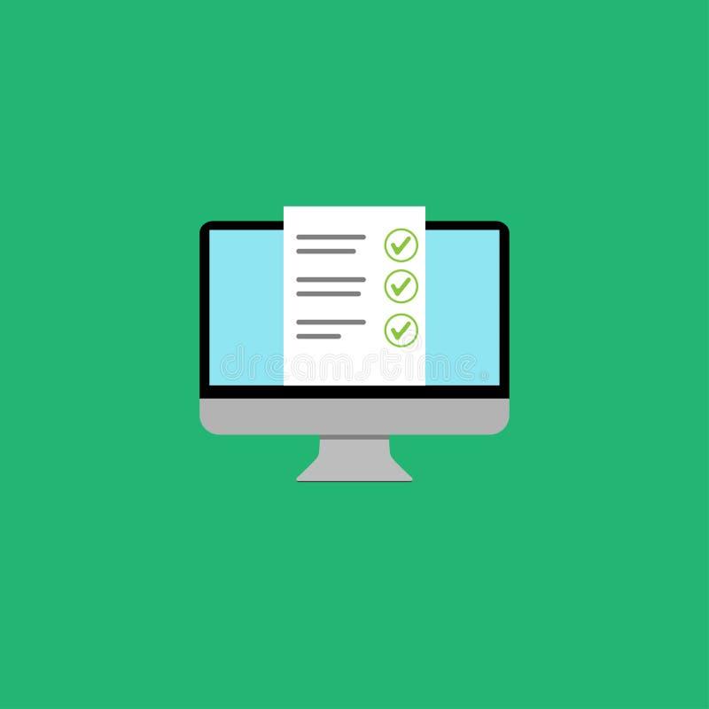 la liste en ligne d'essai d'éducation d'ordinateur a approuvé la conception illustration libre de droits