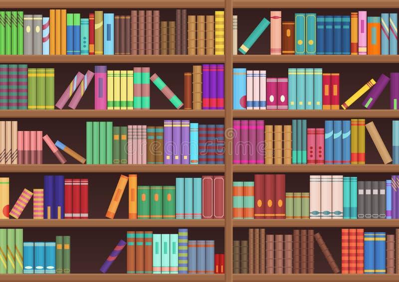 La literatura del estante de librería de la biblioteca reserva el fondo del vector de la historieta ilustración del vector