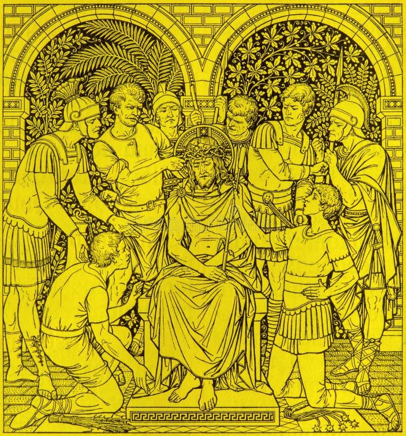 La lithographie du couronnement avec des épines dans Missale Romanum par l'artiste inconnu avec les initiales F M S 1890 images libres de droits