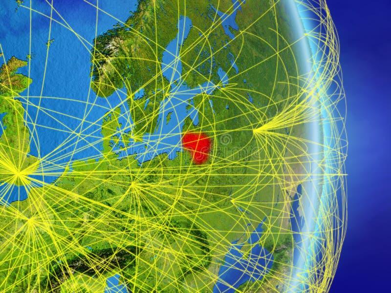 La Lithuanie sur terre de planète de planète avec le réseau Concept de connectivité, voyage et communication illustration 3D Élém illustration stock