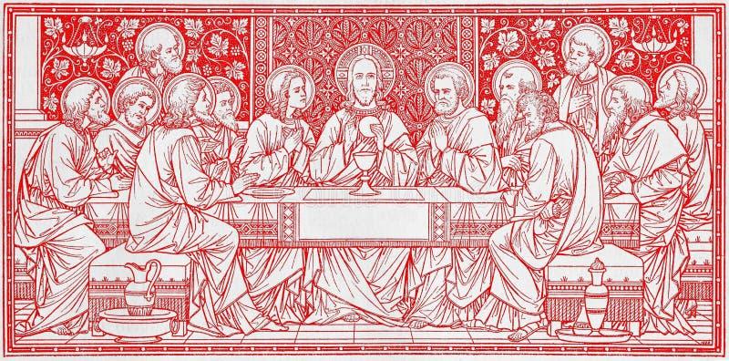 La litografía de la última cena en Missale Romanum del artista desconocido con las iniciales F M S del final de 19 centavo fotografía de archivo libre de regalías