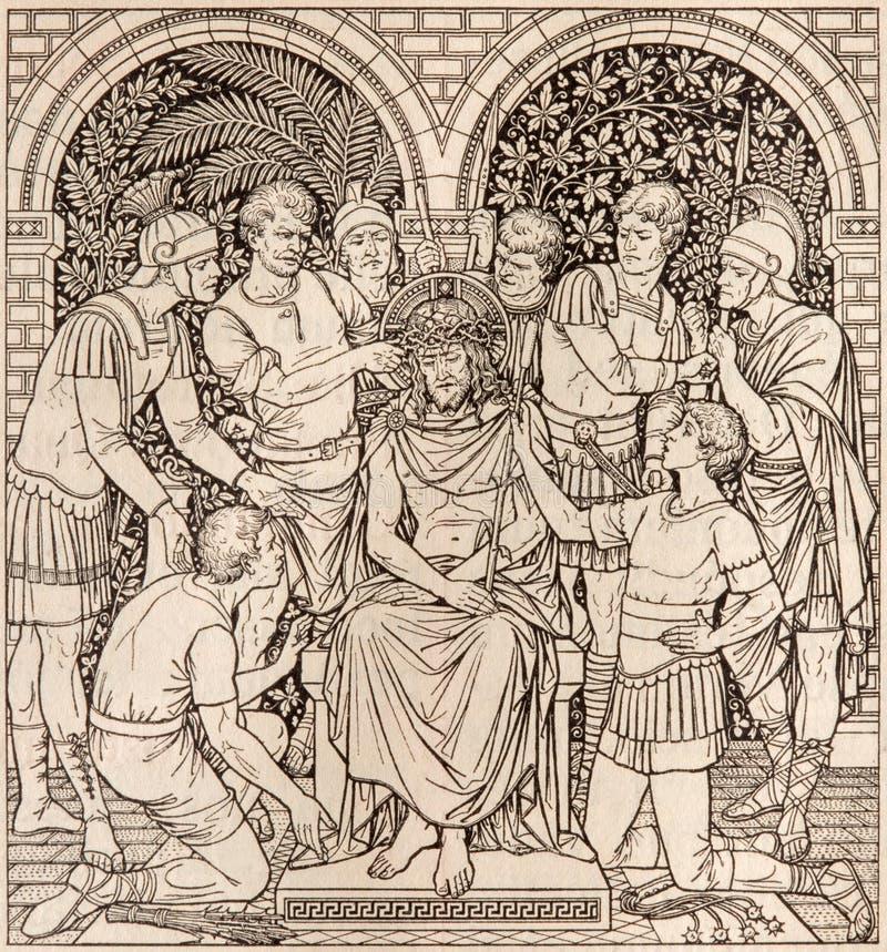 La litografía de la coronación con las espinas en Missale Romanum del artista desconocido con las iniciales F M S 1890 imagenes de archivo