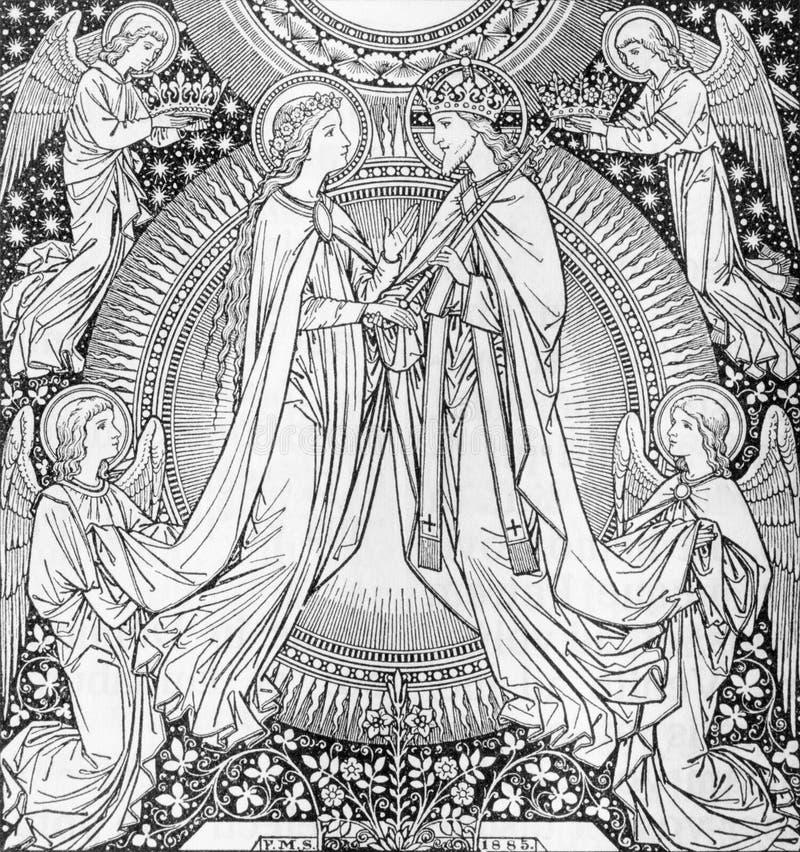 La litografía de la coronación de la Virgen María del artista desconocido con las iniciales F M S 1885 foto de archivo libre de regalías