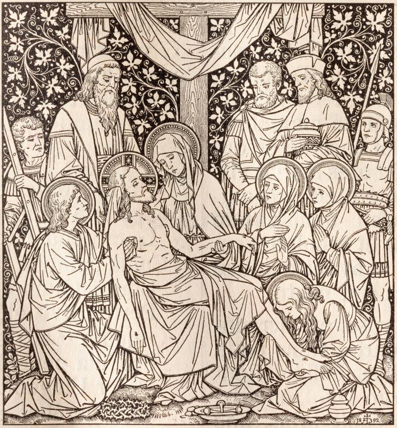 La litografía de la deposición en Missale Romanum del artista desconocido con las iniciales F M S 1892 fotografía de archivo