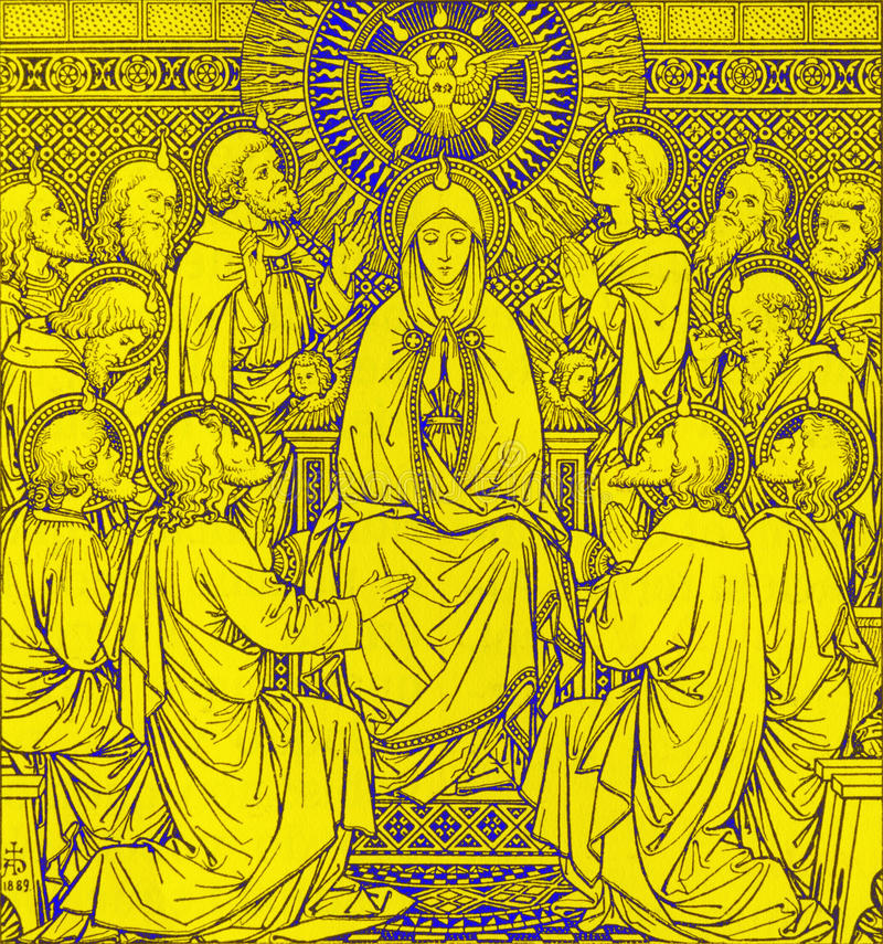 La litografía de Pentecostés en Missale Romanum del artista desconocido con las iniciales F M S 1889 fotografía de archivo