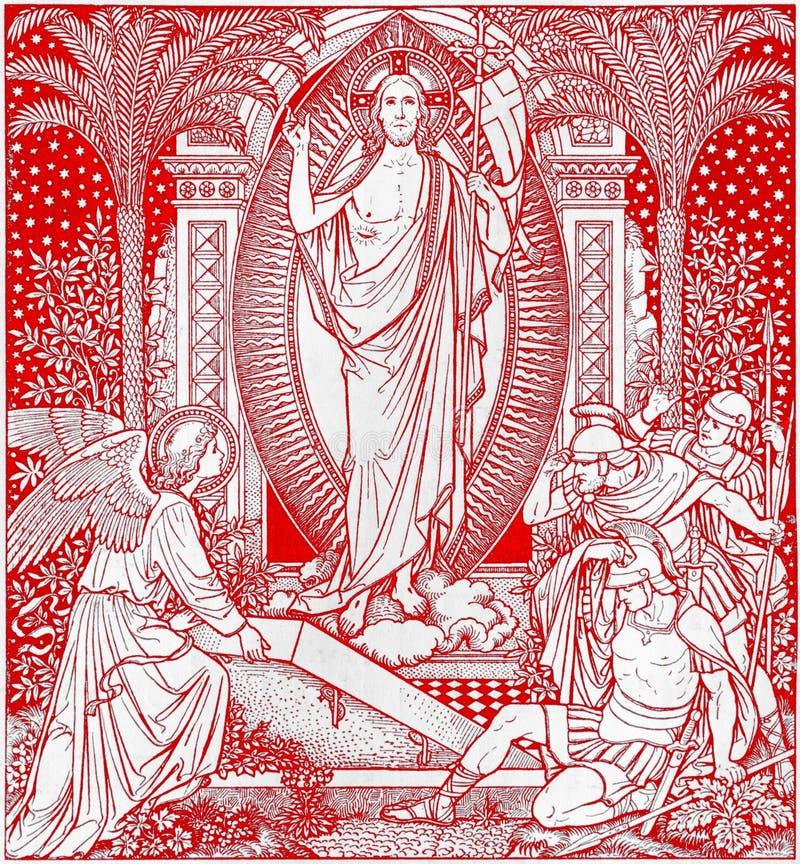 La litografía de Resureection en Missale Romanum del artista desconocido con las iniciales F M S del final de 19 centavo imagen de archivo