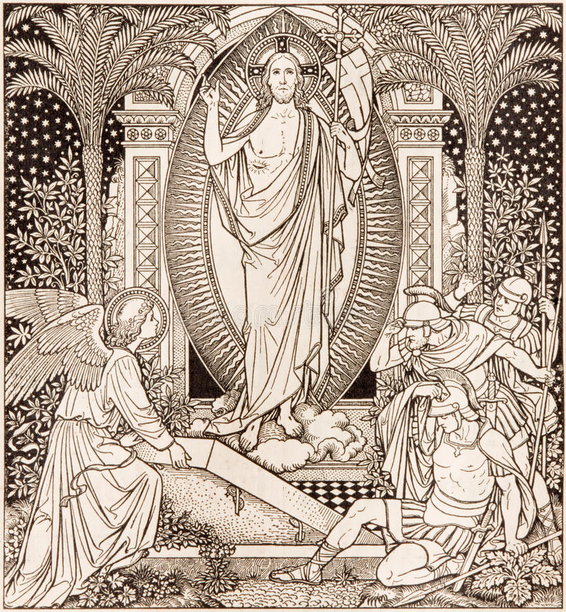 La litografía de Resureection en Missale Romanum del artista desconocido con las iniciales F M S del final de 19 centavo imagenes de archivo