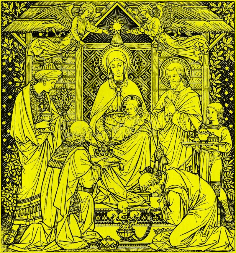 La litografía de tres unos de los reyes magos en Missale Romanum del artista desconocido con las iniciales F M S del final de 19  fotos de archivo libres de regalías
