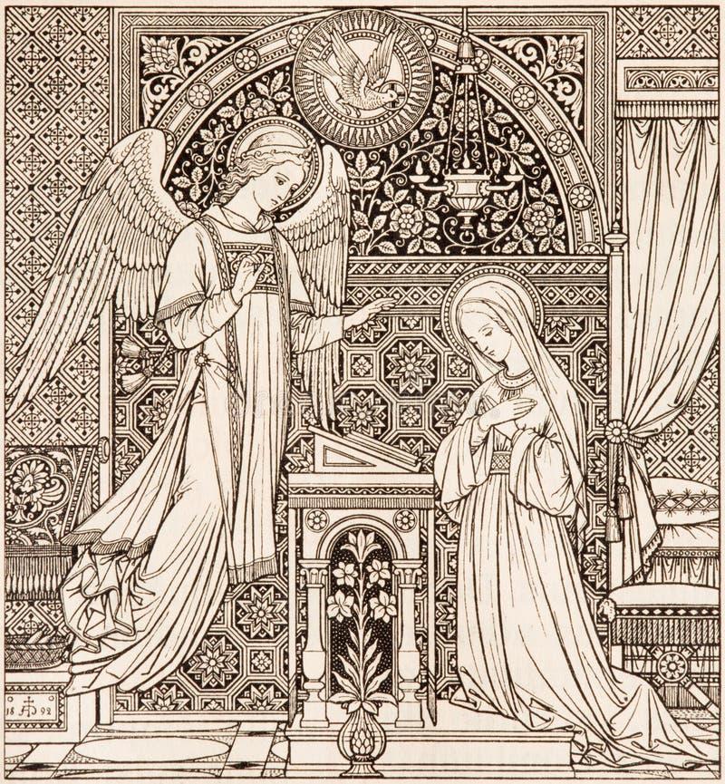 La litografía del anuncio en Missale Romanum diseñó por el artista desconocido 1892 foto de archivo