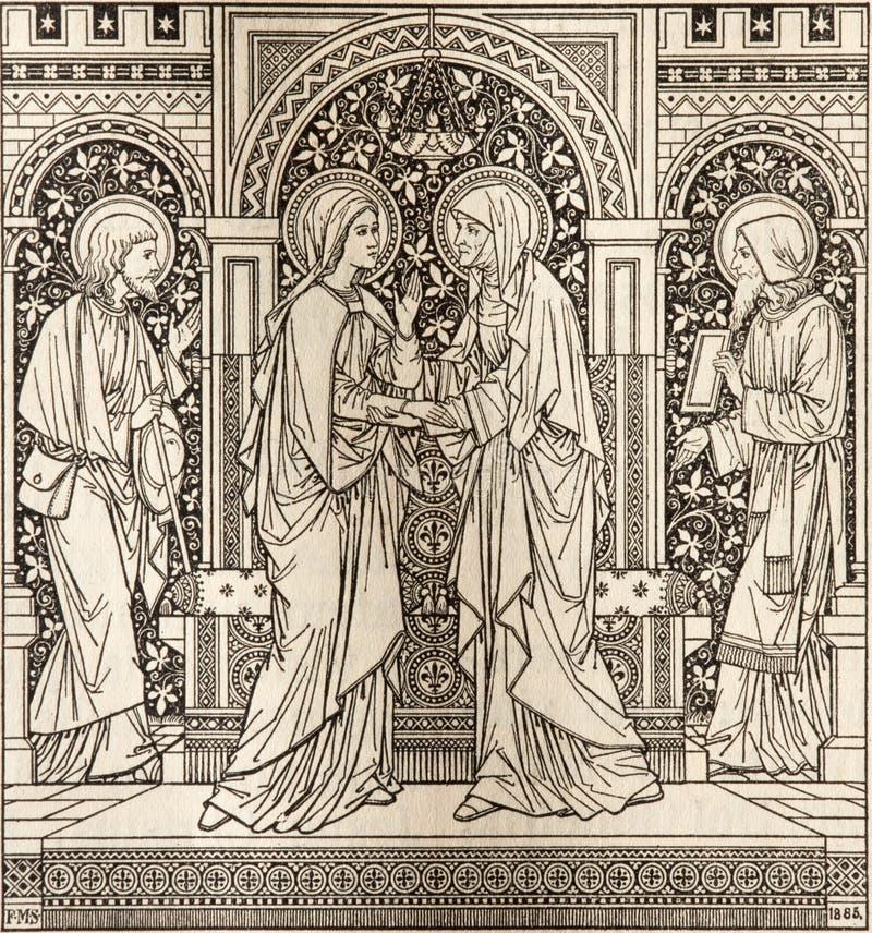 La litografía del Visitation en Missale Romanum del artista desconocido con las iniciales F M S 1885 imagen de archivo