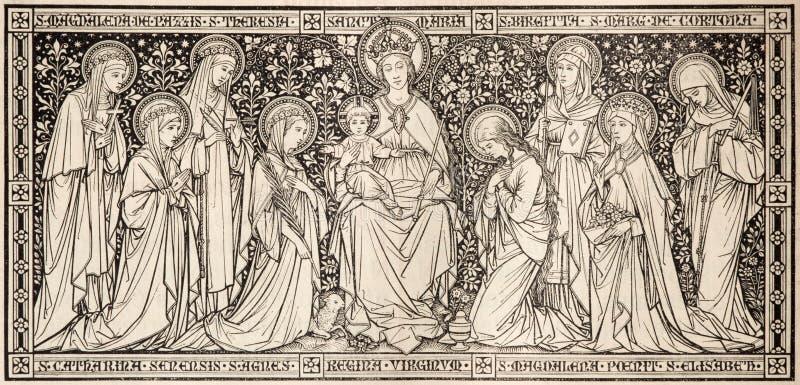 La litografía Madonna entre las vírgenes diseñó por el artista desconocido con las iniciales F M S 1888 imagenes de archivo
