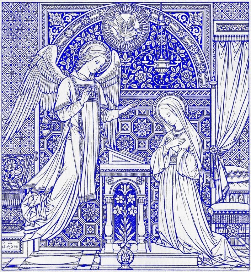 La litografia dell'annuncio in Missale Romanum ha progettato dall'artista sconosciuto 1892 fotografia stock