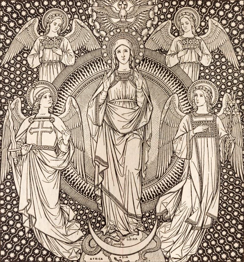 La litografia dell'immacolata concezione fra gli angeli dall'artista sconosciuto F M. S 1889 immagini stock libere da diritti
