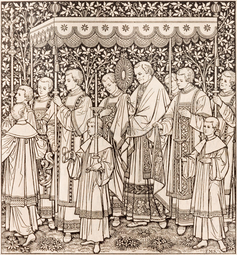 La litografia della festività del corpo e del sangue più santi della processione di Cristo dall'artista sconosciuto F M. S 1889 immagini stock