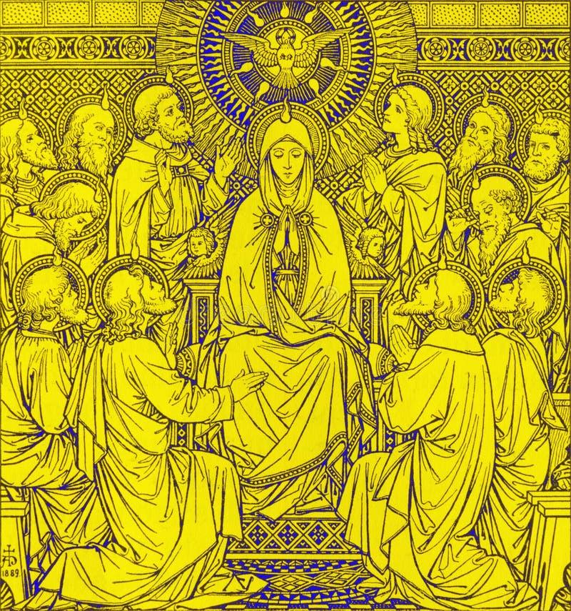 La litografia della Pentecoste in Missale Romanum dall'artista sconosciuto con le iniziali F M. S 1889 fotografia stock