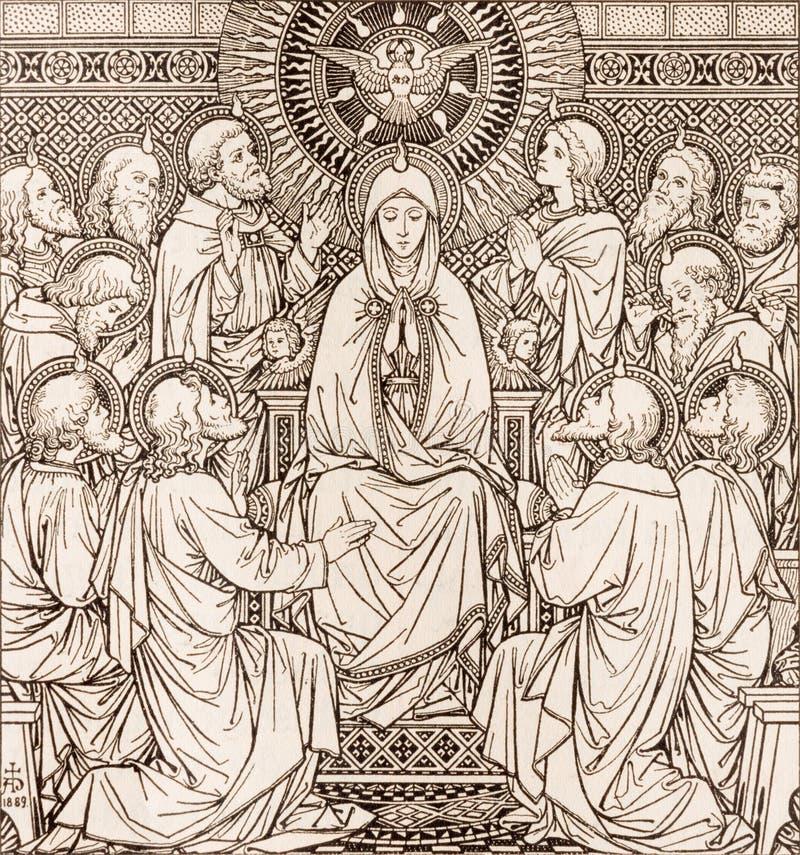 La litografia della Pentecoste in Missale Romanum dall'artista sconosciuto con le iniziali F M. S 1889 fotografie stock
