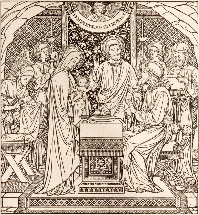 La litografia della presentazione nel tempio dall'artista sconosciuto con le iniziali F M. S 1894 fotografie stock