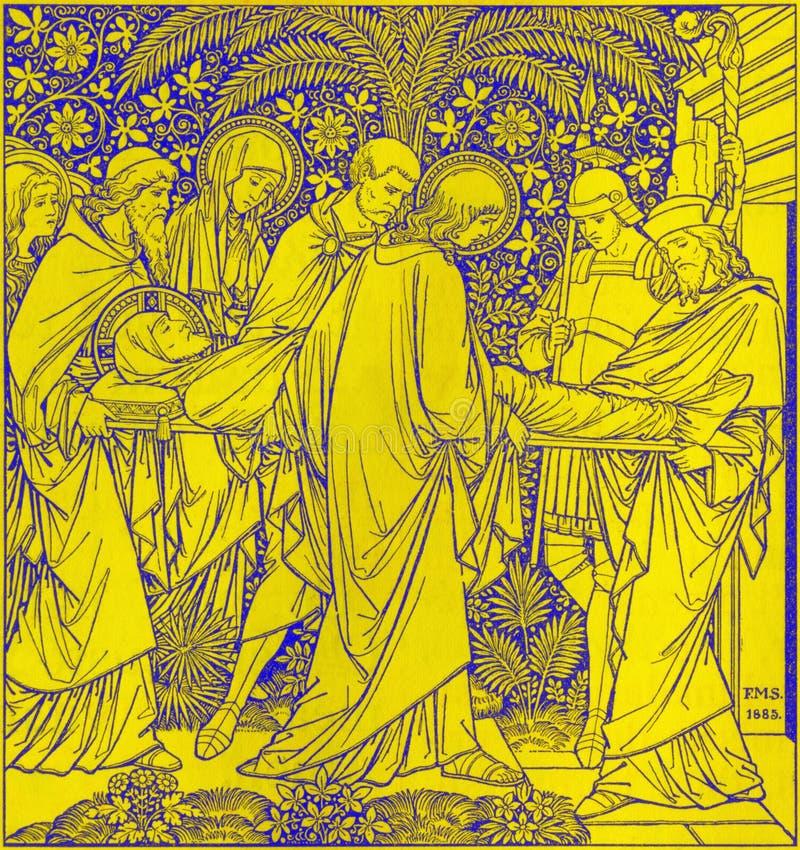 La litografia della sepoltura di Gesù in Missale Romanum dall'artista sconosciuto con le iniziali F M. S 1885 fotografie stock libere da diritti