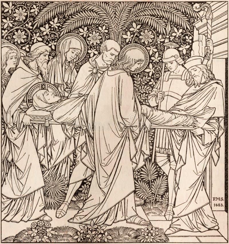 La litografia della sepoltura di Gesù in Missale Romanum dall'artista sconosciuto con le iniziali F M. S 1885 immagini stock libere da diritti
