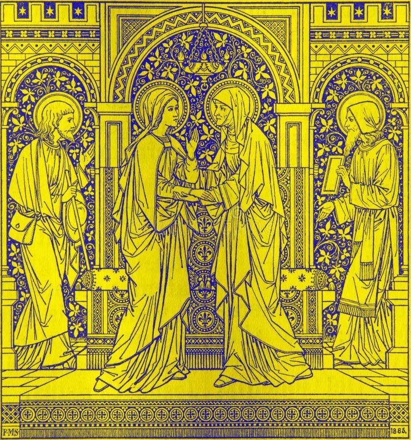 La litografia della visitazione in Missale Romanum dall'artista sconosciuto con le iniziali F M. S 1885 immagine stock