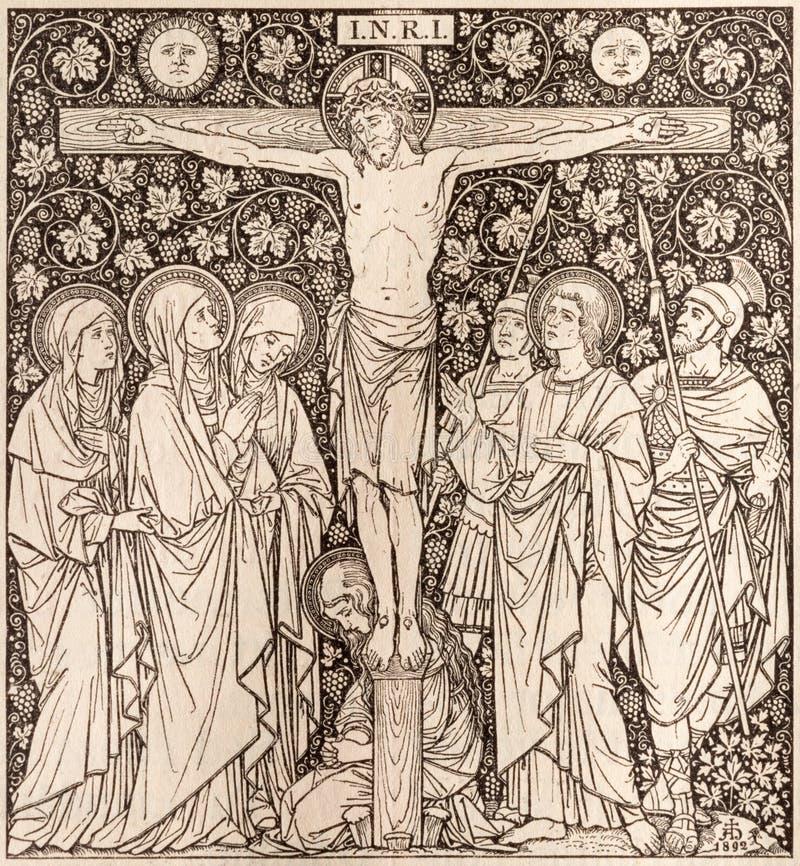La litografia di crocifissione in Missale Romanum dall'artista sconosciuto con le iniziali F M. S 1892 immagini stock libere da diritti