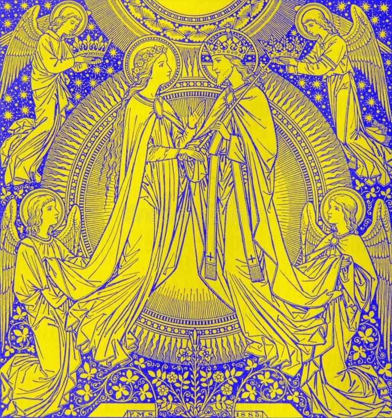 La litografia di incoronazione di vergine Maria dall'artista sconosciuto con le iniziali F M. S 1885 fotografie stock libere da diritti