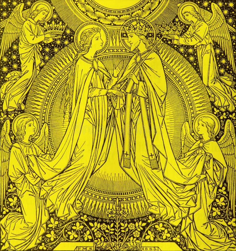 La litografia di incoronazione di vergine Maria dall'artista sconosciuto con le iniziali F M. S 1885 fotografia stock
