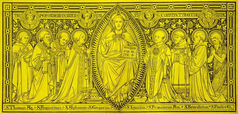 La litografia di Jesuts fra i san immagini stock libere da diritti