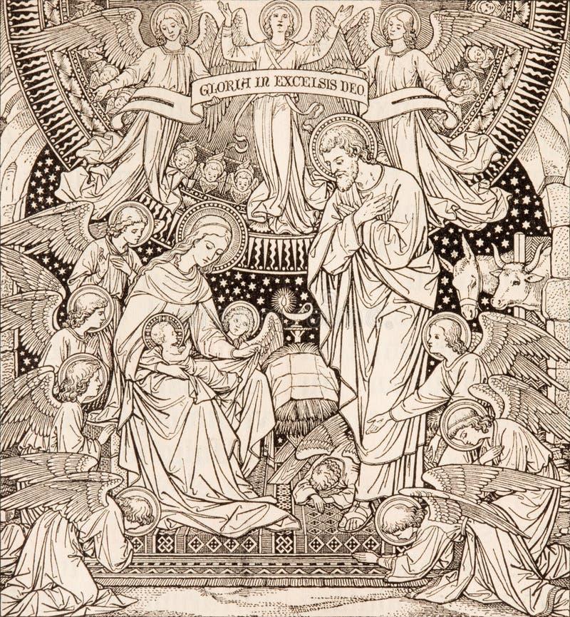 La litografia di natività in Missale Romanum dall'artista sconosciuto con le iniziali F M. S da una conclusione di 19 centesimo fotografia stock