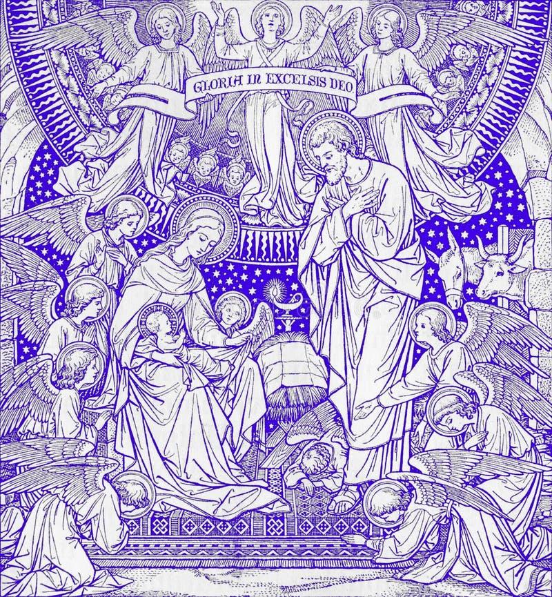 La litografia di natività in Missale Romanum dall'artista sconosciuto con le iniziali F M. S da una conclusione di 19 centesimo fotografia stock libera da diritti