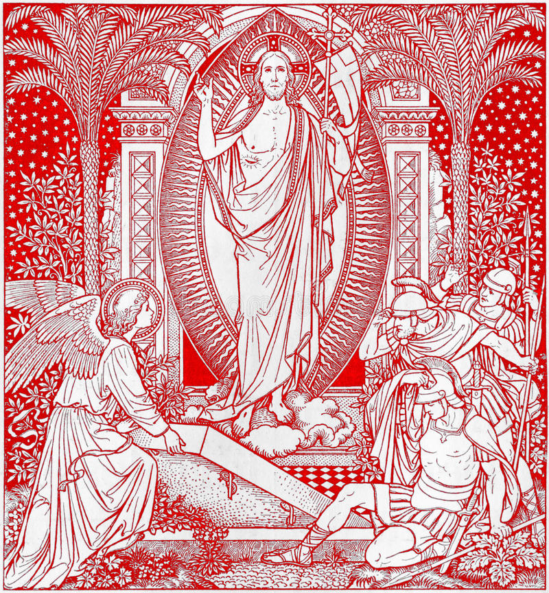 La litografia di Resureection in Missale Romanum dall'artista sconosciuto con le iniziali F M. S da una conclusione di 19 centesi immagine stock