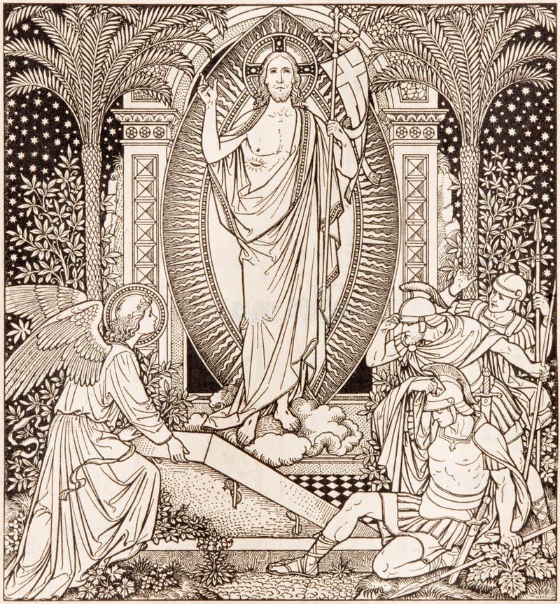 La litografia di Resureection in Missale Romanum dall'artista sconosciuto con le iniziali F M. S da una conclusione di 19 centesi immagini stock
