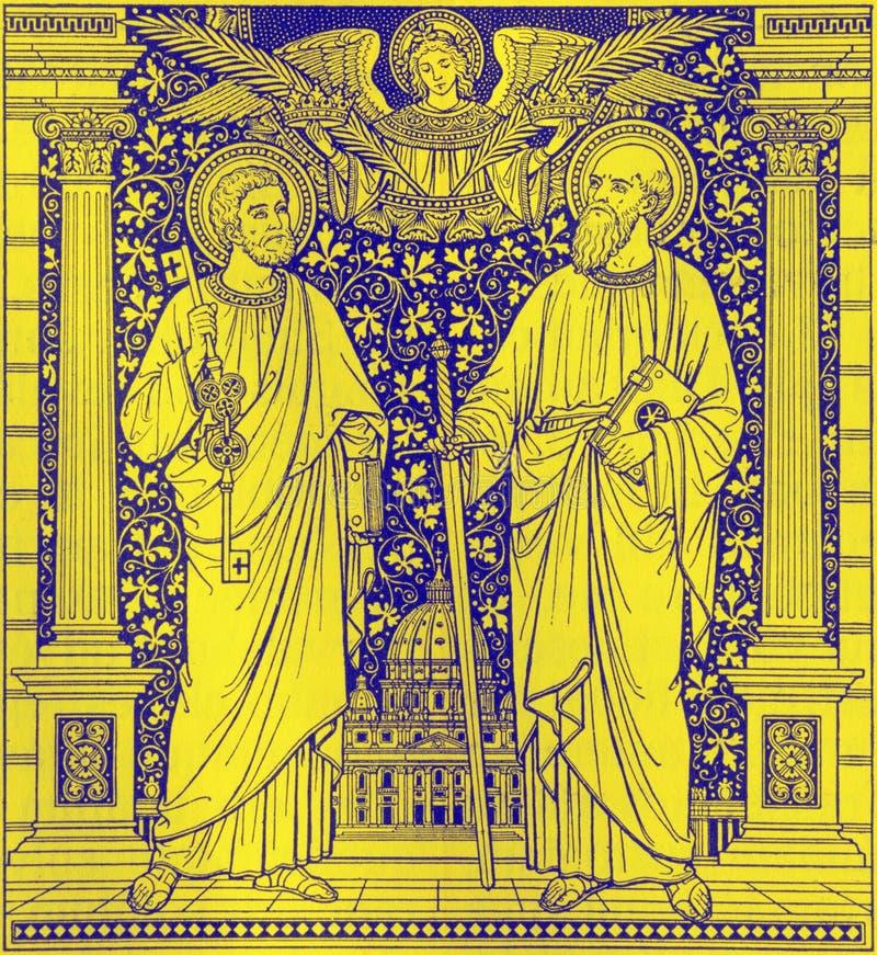 La litografia di St Peter e di Paul in Missale Romanum dall'artista sconosciuto con le iniziali F M. Una conclusione di S di 19 c fotografie stock