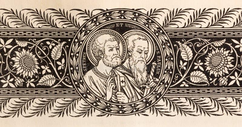 La litografia di St Peter e di Paul fotografia stock libera da diritti