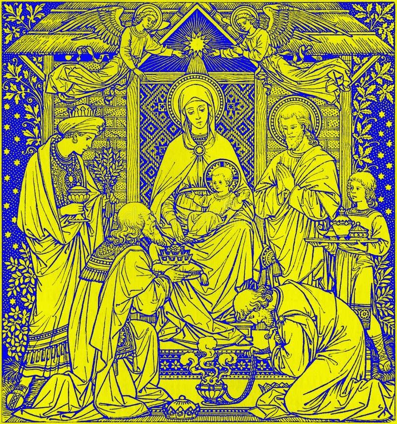 La litografia di tre Re Magi in Missale Romanum dall'artista sconosciuto con le iniziali F M. S da una conclusione di 19 centesim immagine stock