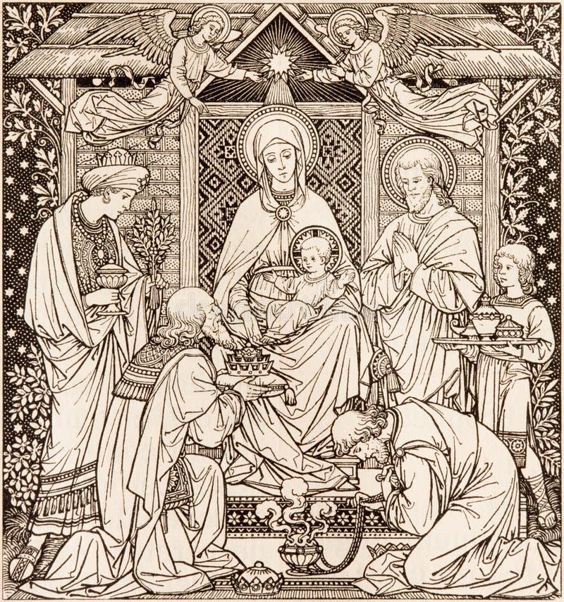La litografia di tre Re Magi in Missale Romanum dall'artista sconosciuto con le iniziali F M. S da una conclusione di 19 centesim immagine stock libera da diritti