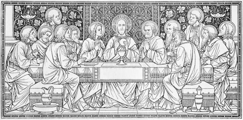 La litografia di ultima cena in Missale Romanum dall'artista sconosciuto con le iniziali F M. S da una conclusione di 19 centesim immagine stock
