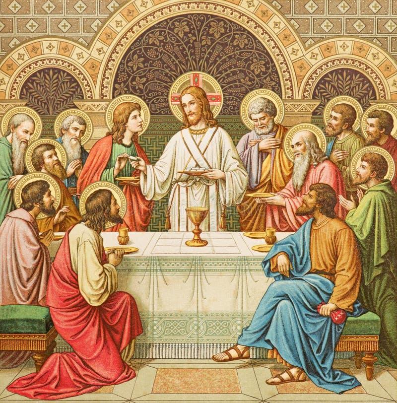 La litografia di ultima cena in Missale Romanum dall'artista sconosciuto con le iniziali F M. S da una conclusione di 19 centesim fotografia stock libera da diritti