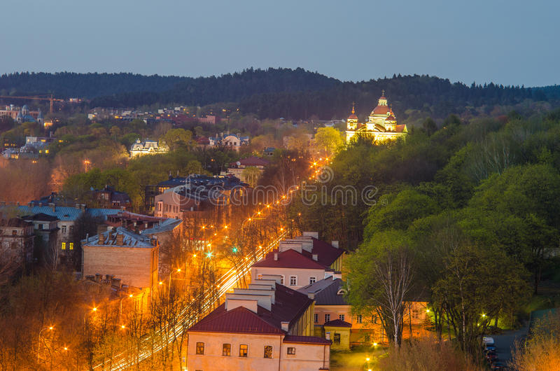 La Lituania. Vilnius nella sera. fotografia stock