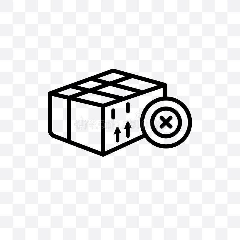La livraison a décommandé l'icône linéaire de vecteur d'isolement sur le fond transparent, concept de transparent décommandé par  illustration de vecteur