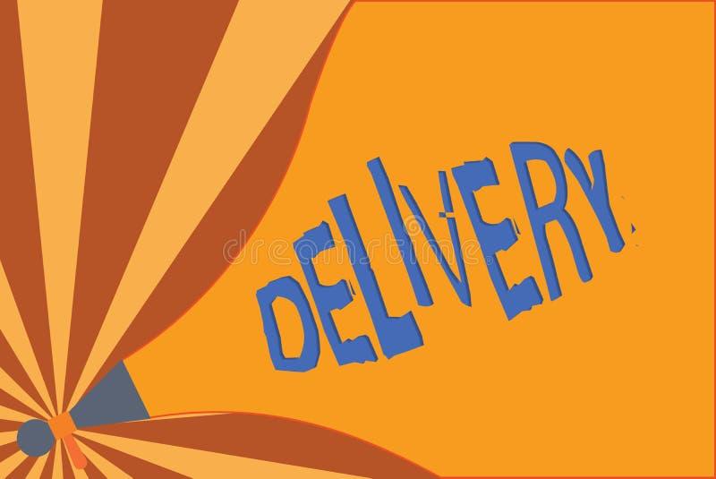 La livraison d'écriture des textes d'écriture Concept signifiant l'action de livrer des colis ou des marchandises de lettres donn illustration de vecteur