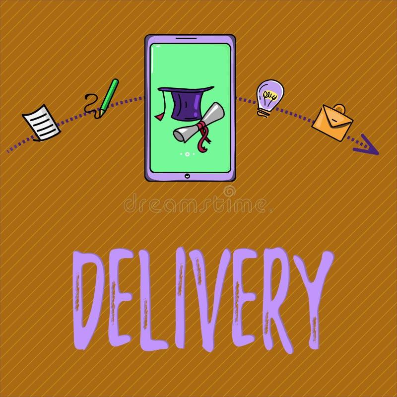 La livraison d'apparence de signe des textes Action conceptuelle de photo de livrer des colis ou des marchandises de lettres donn illustration de vecteur