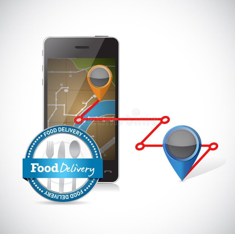 La livraison d'ordre utilisant un smartphone illustration stock