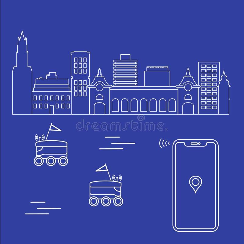 La livraison dans la ville avec robots Exp?dition rapide et commode la distribution lib?rent illustration stock